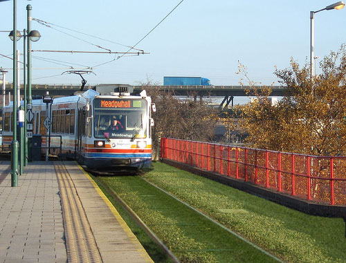 Sheffield's Supertram with grass greenways 1