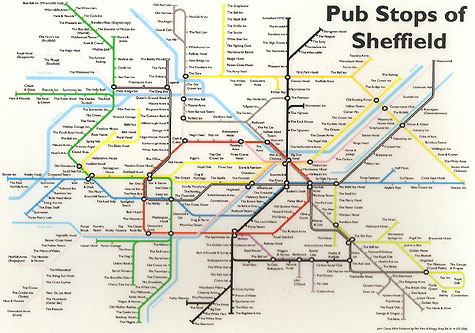 Pub stops of Sheffield mouse mat and poster