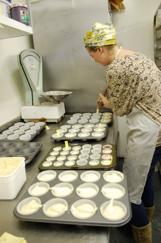 Pumping and labelling the flavoured sponge mix