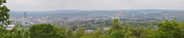 City centre and north west Sheffield from Wincobank hill