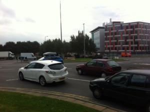 University Square roundabout: not great for cyclists